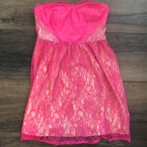 Hot pink and lace strapless mini dress